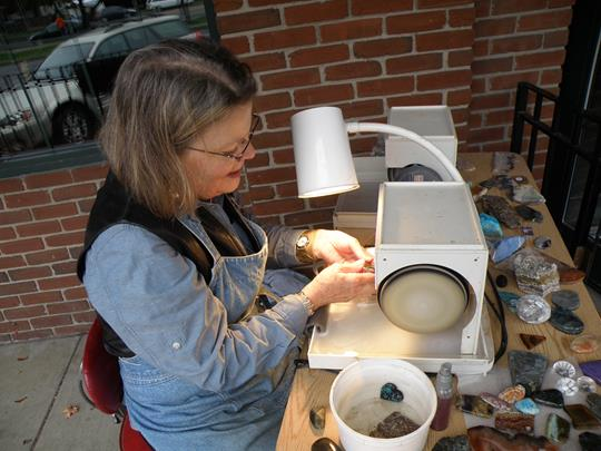DeAnn vonHunke's demonstration of gem stone polishing at Cazenovia Artisans