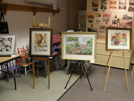 Toloa Perry's paintings at the Caz Library