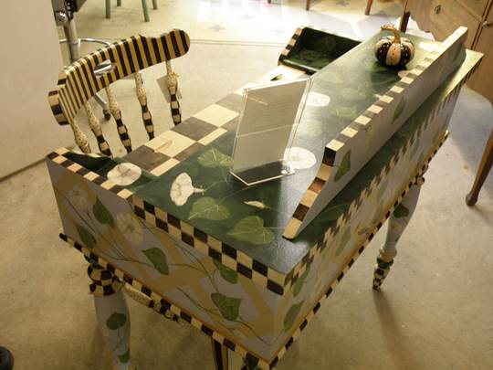 Painted desk by Marilyn Fegan