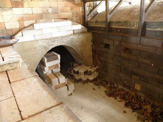 Liz Lurie's wood-fired kiln awaiting her next batch of pottery