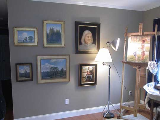 A display of paintings by Wayne Daniels