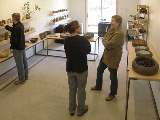 Liz Lurie and Peter Beasecker pieces on display at their pottery studio