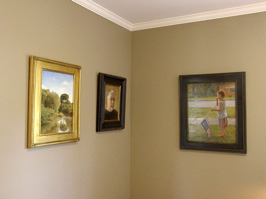 Three paintings by Wayne Daniels, including a self portrait