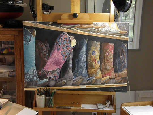 A painting in progress of fancy boots by Rick Marchant