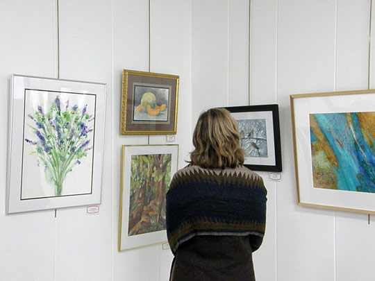Cazenovia Watercolor Society display at the New Woodstock Free Library