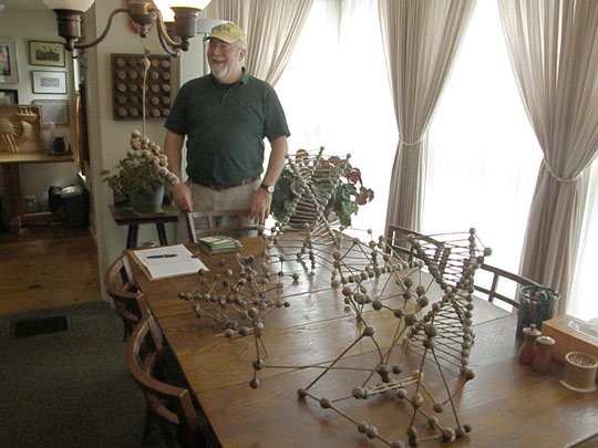 Dave Porter with several of his new goldenrod gall sculptures