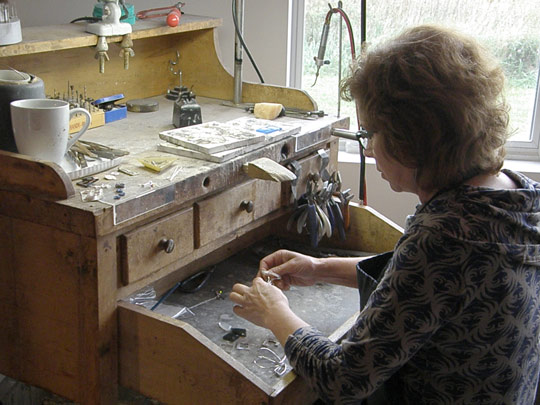 Susan Machmer creating jewelry pieces