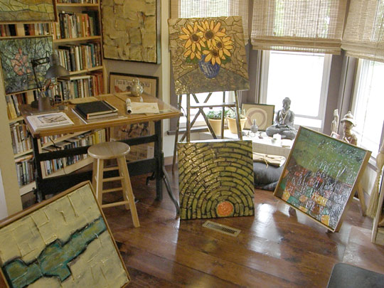 Paintings by Hongo (Dave Robinson) on display in his home