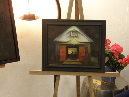 Susan Tietje paintings on display at Route 20 Sofa