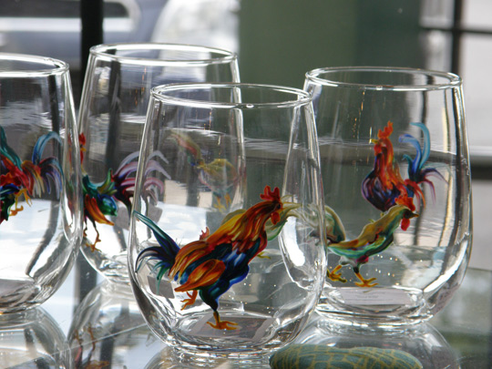 Colorfully painted glasses by Deb Wester at Cazenovia Artisans