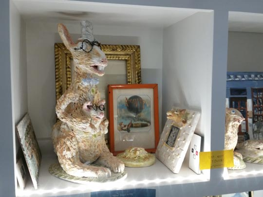 Ceramic kangaroo and other items made by Roger Demuth