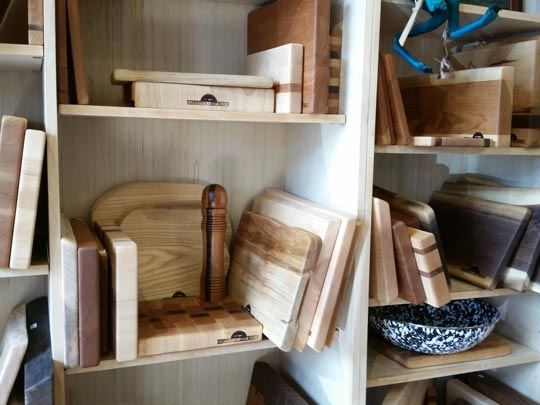 Display of Cazenovia Cut Block cutting boards and other items