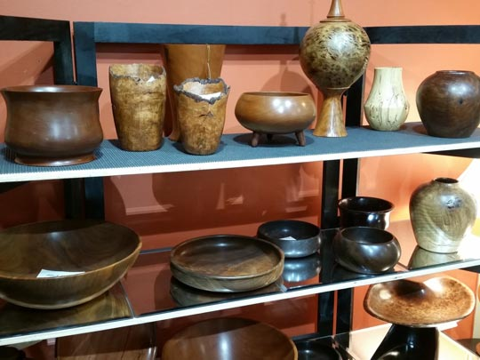 Ceramic and wooden bowls for sale at Cazenovia Artisans