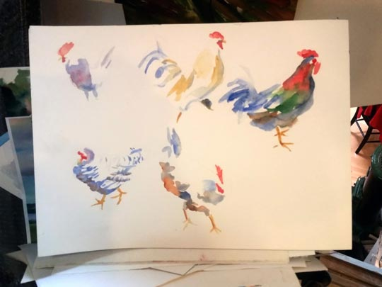 Deb Wester's watercolor sketches of roosters