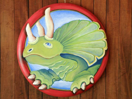 Jennifer Hooley triceratops stepping out of its frame